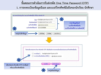 นักศึกษาผู้กู้ยืม กองทุนเงินให้กู้ยืมเพื่อการศึกษา มีการเปลี่ยนแปลงขั้นตอนการดำเนินการรับส่งรหัส One Time Password (OTP) จากรับส่ง OTP ผ่าน E-mail ก็จะเพิ่มช่องทางเป็นส่งผ่านเข้า เบอร์โทรศัพท์ เป็นข้อความ