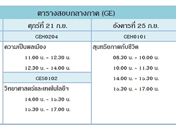 Midterm Exam Schedule - General Education