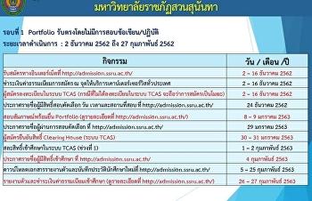 ปฏิทินการดำเนินงานรับสมัครนักศึกษาใหม่ ประจำปีการศึกษา 2563