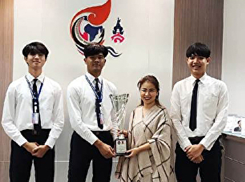 Dr. Chattrarat Hotrawaisaya acting on behalf of the Dean of the College of Logistics and Supply Chain, SSRU Nakhon Pathom Campus congratulated to logistic management's student which awarded first prize in BASKETBALL TOURNAMENT SSRU 3X3.