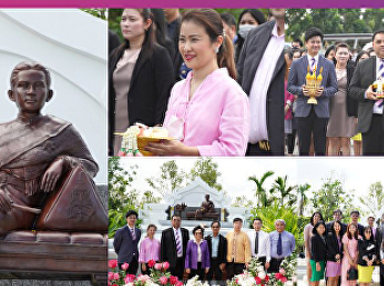 Dr. Chattrarat Hotrawaisaya acting on behalf of the Dean of the College of Logistics and Supply Chain, SSRU Nakhon Pathom Campus joined the summoning procession ceremony to invite the Queen Sunandha Kumareerat's statue is enshrined in the front yard