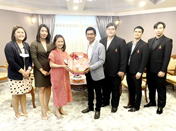 The administrative team of College of Logistics and Supply Chain gave a Birthday Hamper and jointly blessing on a birthday to Assoc. Prof. Dr. Luedech Girdwichai; President of Suan Sunandha Rajabhat University Council.