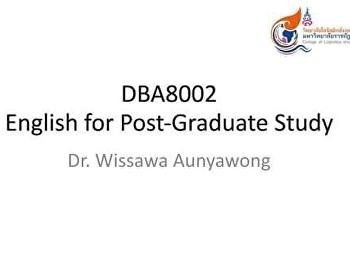 บรรยากาศการเรียนการสอนออนไลน์ ในรายวิชา DBA8002 English for Graduate Studies